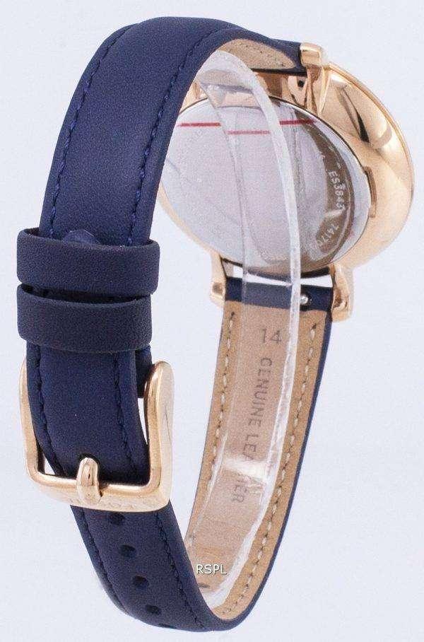 화석 재클린 실버 다이얼 해군 블루 가죽 ES3843 여자의 시계