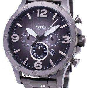 화석 네이트 크로 노 그래프 연기 회색 다이얼 JR1437 남자의 시계