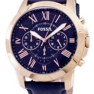 화석 부여 크로노 그래프 블루 가죽 스트랩 FS4835 남성 시계