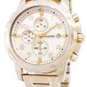 화석 딘 크로 노 그래프 골드 톤 스테인레스 스틸 FS4867 남자의 시계