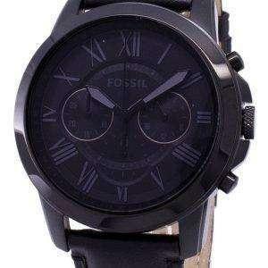 화석 부여 크로 노 그래프 블랙 가죽 FS5132 남성용 시계