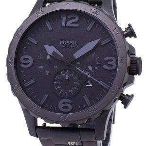 화석 네이트 크로 노 그래프 블랙 다이얼 블랙 이온 도금 JR1401 남성용 시계