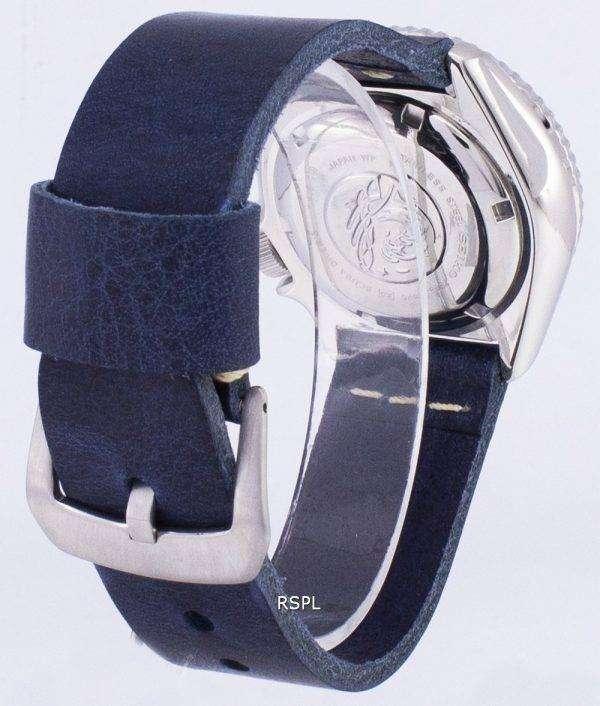 SKX007J1-LS15 세이 코 자동 다이 버의 남자 200m 일본 다크 블루 가죽 스트랩 남자의 시계를 만든