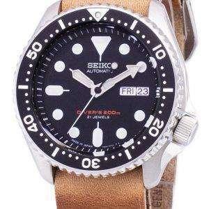 SKX007J1-LS18 세이 코 자동 다이 버의 남자 200m 일본 갈색 가죽 스트랩 남자의 시계를 만든