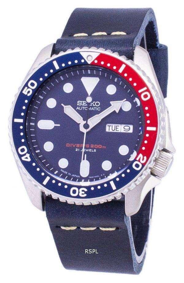 SKX009J1-LS15 세이 코 자동 다이 버의 남자 200m 다크 블루 가죽 스트랩 남자 시계