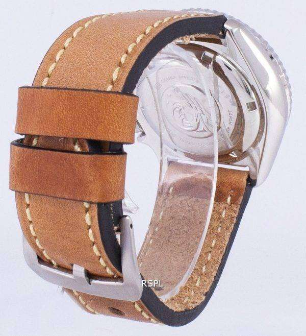 SKX009J1-LS17 세이 코 자동 다이 버의 남자 200m 일본 갈색 가죽 스트랩 남자의 시계를 만든