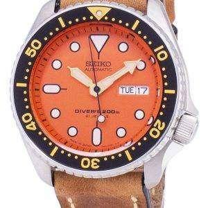 SKX011J1-LS17 세이 코 자동 다이 버의 남자 200m 일본 갈색 가죽 스트랩 남자의 시계를 만든