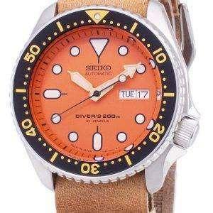 SKX011J1-LS18 세이 코 자동 다이 버의 남자 200m 일본 갈색 가죽 스트랩 남자의 시계를 만든
