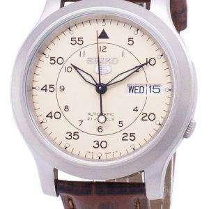 세이 코 5 군 SNK803K2-SS2 자동 갈색 가죽 스트랩 남자 시계