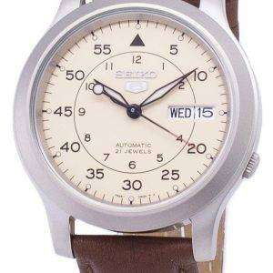 세이 코 5 군 SNK803K2-SS5 자동 갈색 가죽 스트랩 남자 시계