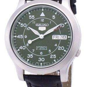 세이 코 5 군 SNK805K2-SS1 자동 블랙 가죽 스트랩 남자 시계