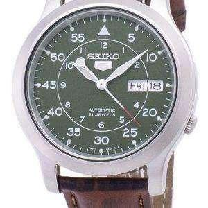 세이 코 5 군 SNK805K2-SS2 자동 갈색 가죽 스트랩 남자 시계