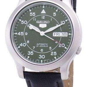 세이 코 5 군 SNK805K2-SS3 자동 블랙 가죽 스트랩 남자 시계