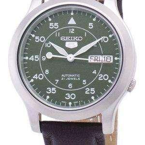 세이 코 5 군 SNK805K2-SS4 자동 갈색 가죽 스트랩 남자 시계