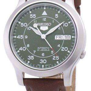 세이 코 5 군 SNK805K2-SS5 자동 갈색 가죽 스트랩 남자 시계