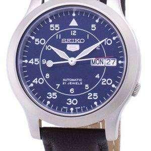 세이 코 5 군 SNK807K2-SS4 자동 갈색 가죽 스트랩 남자 시계