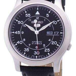 세이 코 5 군 SNK809K2-SS3 자동 블랙 가죽 스트랩 남자 시계