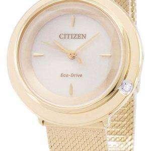 시민 L 에코-드라이브 EM0642-87 P 아날로그 다이아몬드 악센트 여자 시계
