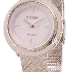 시민 L 에코-드라이브 EM0643-84 X 아날로그 다이아몬드 악센트 여자의 시계