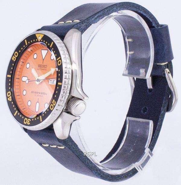 SKX011J1-LS15 세이 코 자동 다이 버의 남자 200m 다크 블루 가죽 스트랩 남자 시계