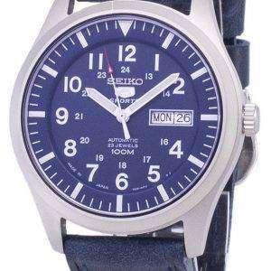 세이 코 5 스포츠 SNZG11J1 LS13 일본 다크 블루 가죽 스트랩 남자의 시계를 만든
