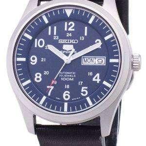 세이 코 5 스포츠 SNZG11K1 LS14 자동 블랙 가죽 스트랩 남자 시계