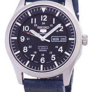 세이 코 5 스포츠 SNZG15J1 LS13 일본 다크 블루 가죽 스트랩 남자의 시계를 만든
