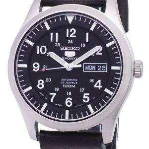 세이 코 5 스포츠 SNZG15J1 LS14 일본 남자 블랙 가죽 스트랩 시계를 만든