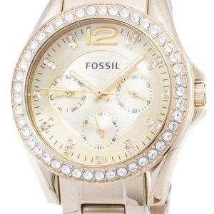 화석 라일리 다기능 골드 톤 크리스탈 다이얼 ES3203 여자의 시계