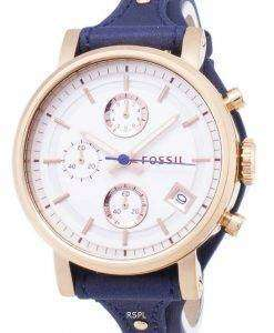 화석 원래 남자 친구 쿼 츠 크로 노 그래프 블루 가죽 스트랩 ES3838 여자의 시계