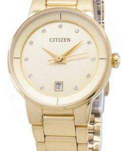 시민 자동 EU6012-58 P 다이아몬드 악센트 아날로그 여자의 시계