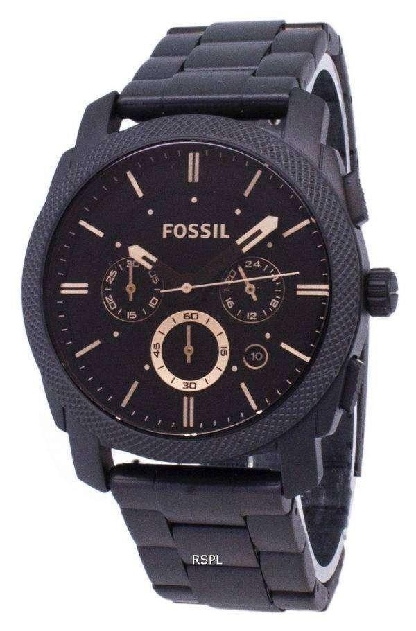 화석 기계 중형 크로 노 그래프 블랙 IP 스테인리스 FS4682 남자 시계