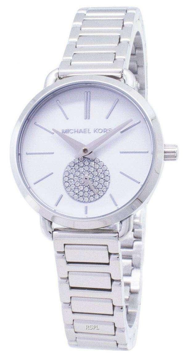 마이클 Kors 쁘띠 포 샤 석 영 다이아몬드 악센트 MK3837 여자의 시계