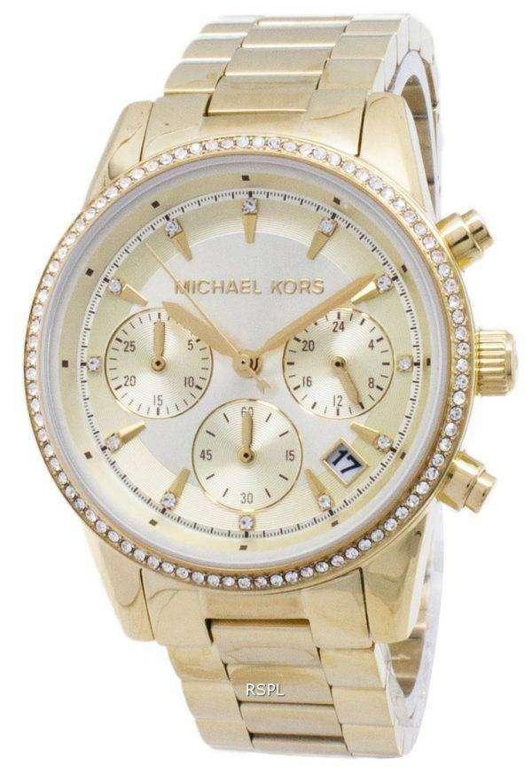 마이클 Kors 리츠 크로 노 그래프 쿼 츠 다이아몬드 악센트 MK6356 여자의 시계
