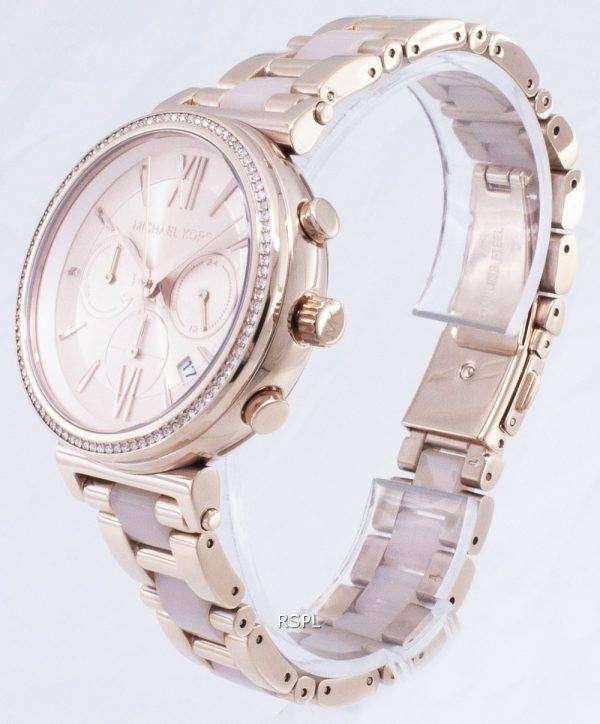 마이클 Kors 소피 크로 노 그래프 쿼 츠 다이아몬드 악센트 MK6560 여자의 시계