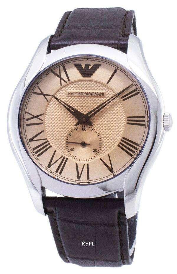 엠포리오 아르마니 클래식 앰버 다이얼 갈색 가죽 AR1704 남자의 시계