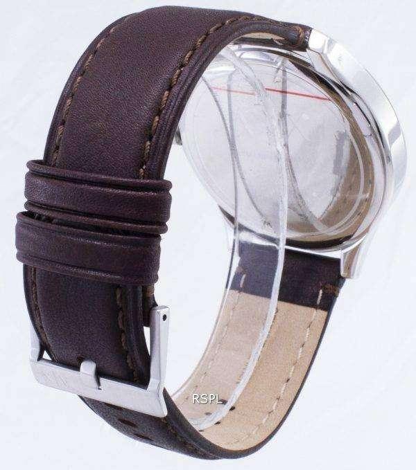 아르마니 익스체인지 석 영 해군 다이얼 갈색 가죽 스트랩 AX2133 남성용 시계