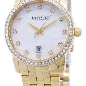 시민 석 영 EU6032-51 D 아날로그 다이아몬드 악센트 여자의 시계