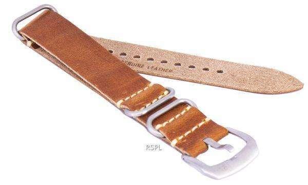갈색 비 브랜드 가죽 스트랩 22mm