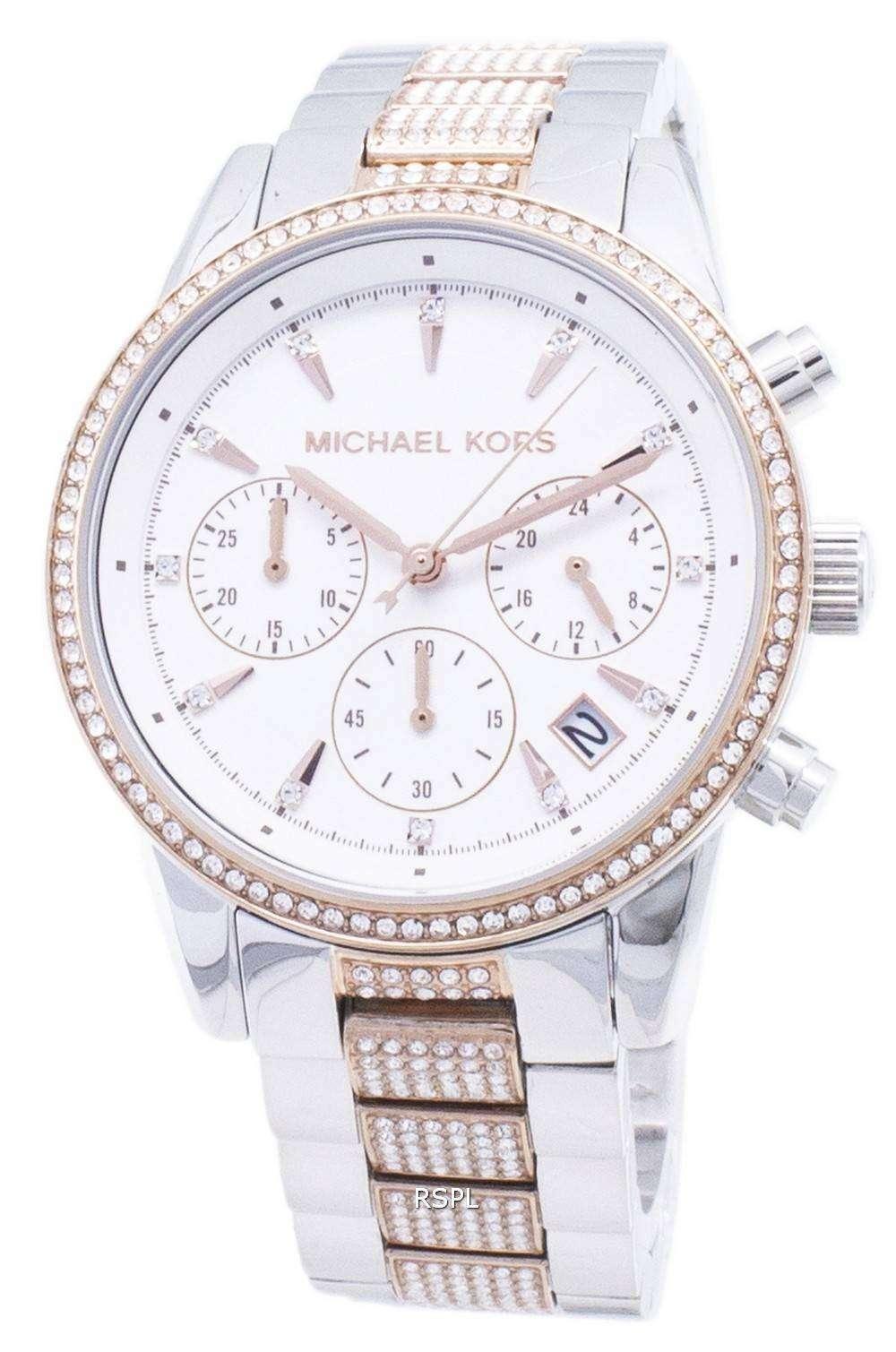마이클 맥 스 리츠 MK6651 크로 노 그래프 다이아몬드 악센트 여성용 손목시계