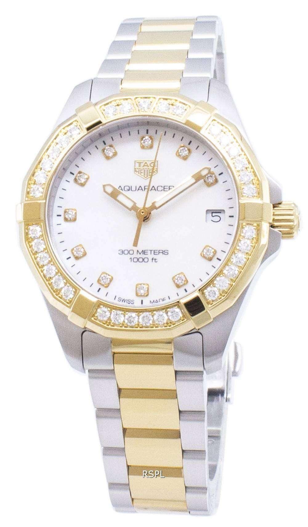태그 호이어 Aquaracer WBD1323. BB0320 다이아몬드 악센트 석 영 300M 여자의 시계