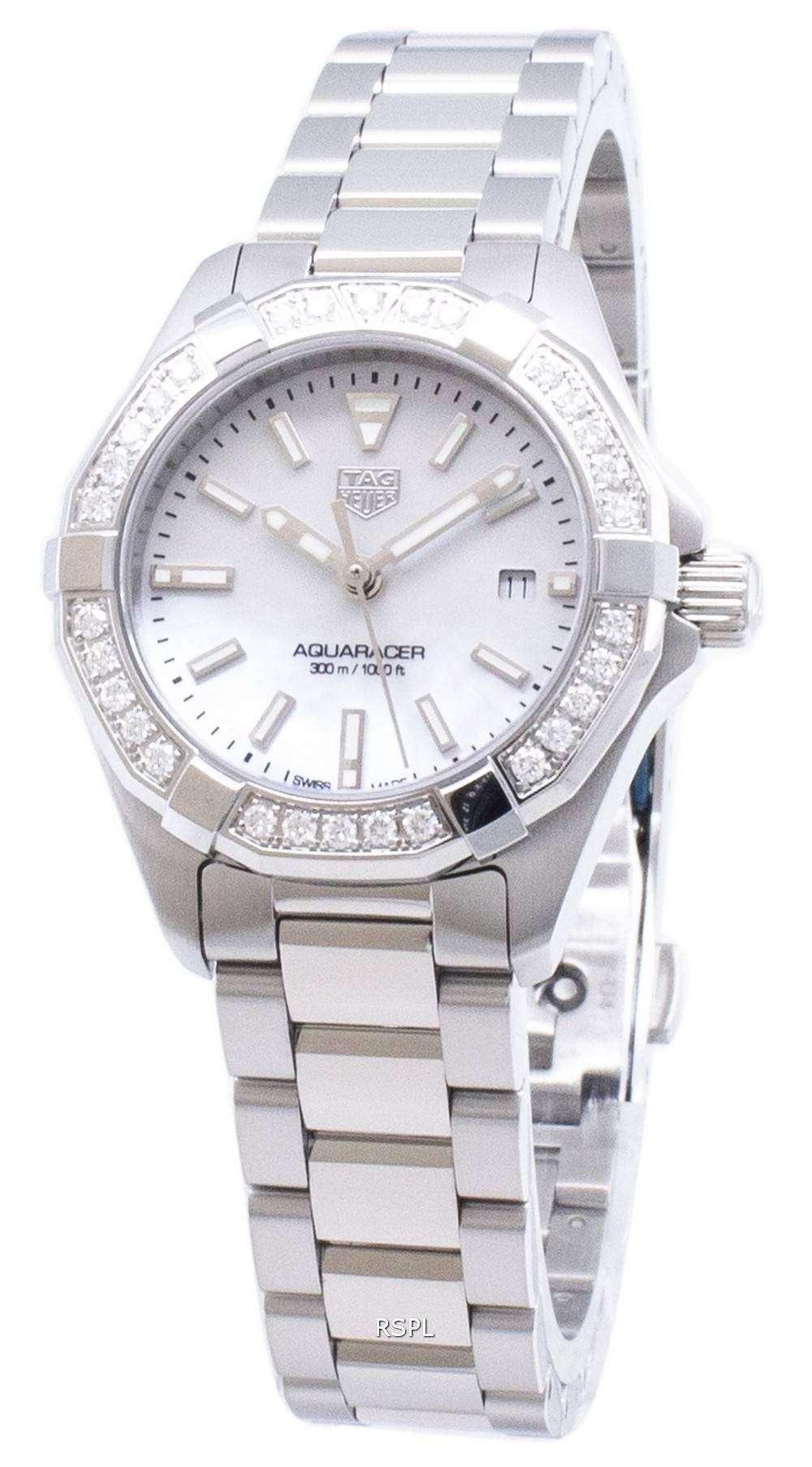 태그 호이어 Aquaracer WBD1413. BA0741 다이아몬드 악센트 석 영 300M 여자의 시계