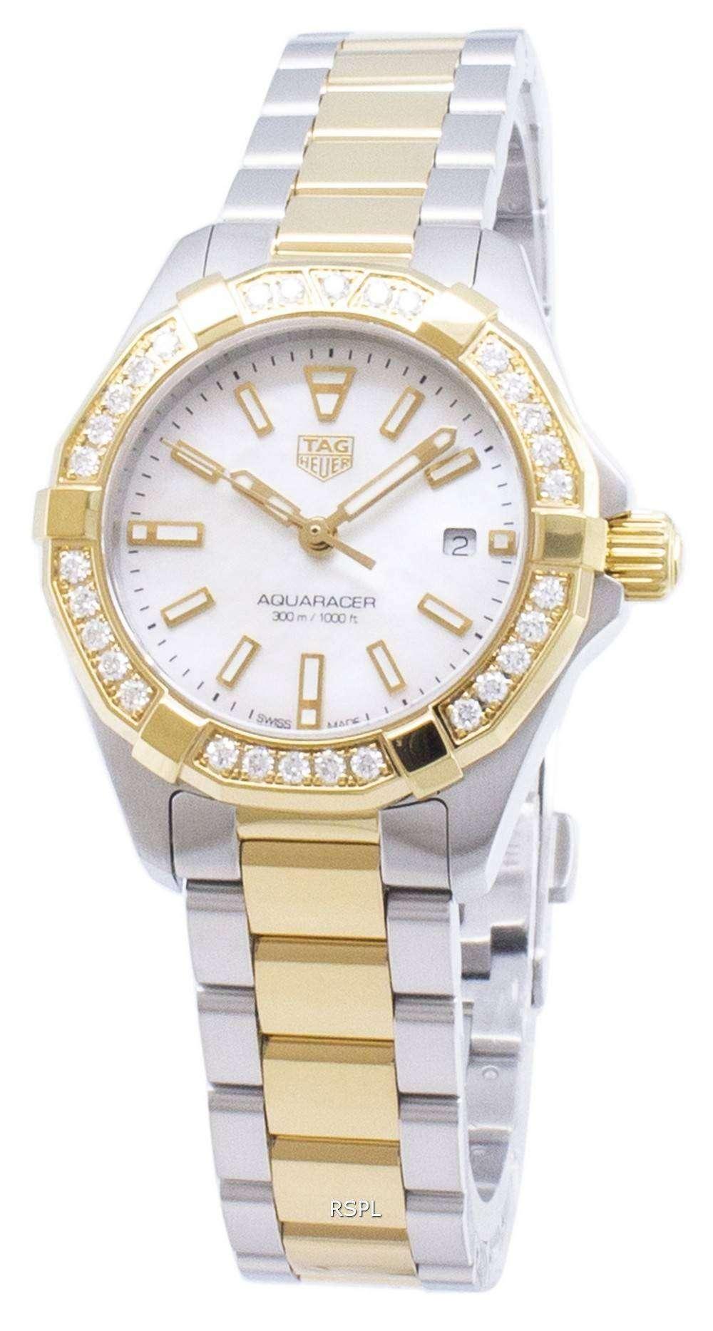 태그 호이어 Aquaracer WBD1421. BB0321 다이아몬드 악센트 석 영 300M 여자의 시계