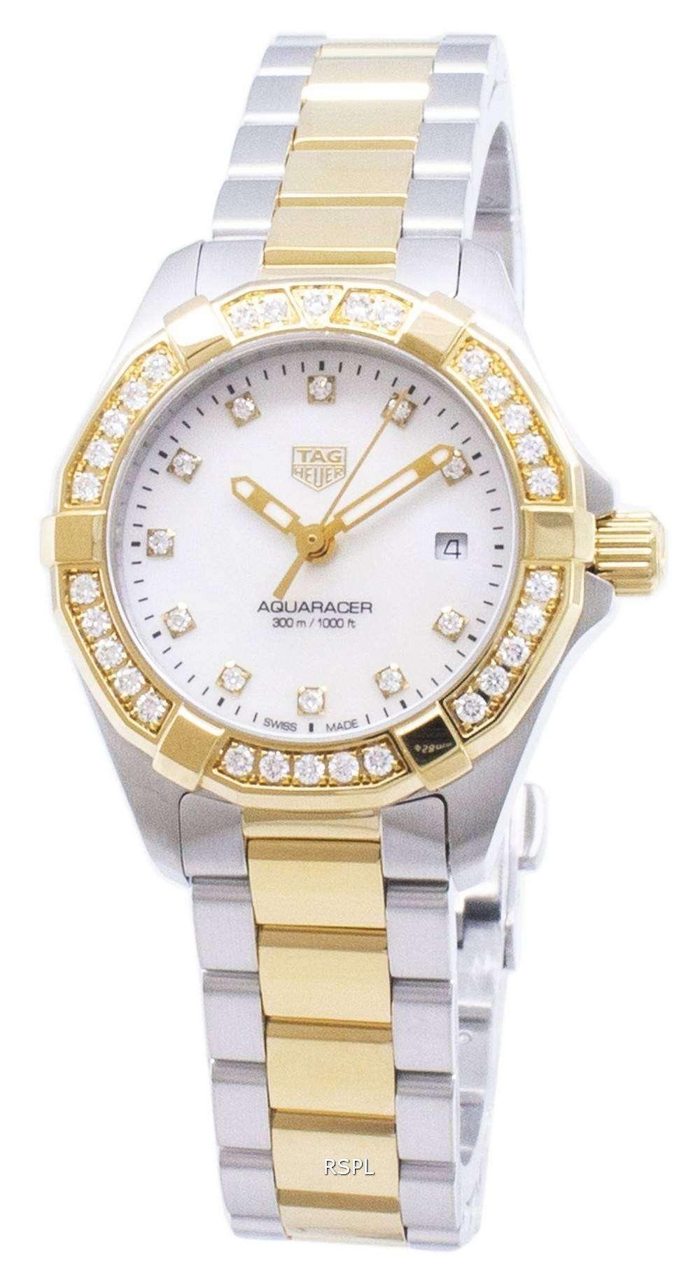 태그 호이어 Aquaracer WBD1423. BB0321 다이아몬드 악센트 석 영 300M 여자의 시계
