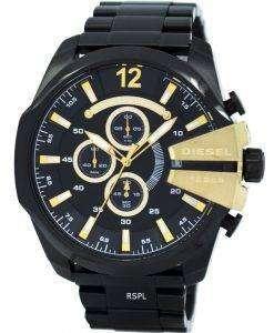 디젤 메가 최고 쿼 츠 크로 노 그래프 블랙 다이얼 블랙 IP DZ4338 남자의 시계