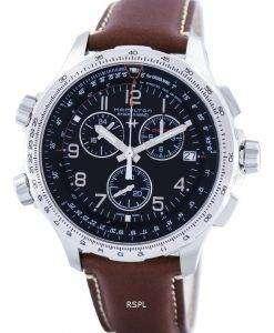 해밀턴 카 키 항공 X 바람 크로 노 그래프 쿼 츠 GMT 스위스 만든 H77912535 남자의 시계