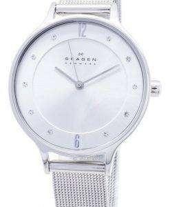 스 카 겐 아니타 실버 다이얼 스와로브스키 크리스탈 메쉬 팔찌 SKW2149 여자의 시계
