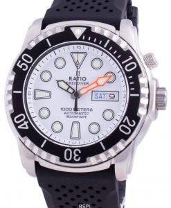 비율 무료 다이버 헬륨 안전 1000M 사파이어 오토매틱 1068HA90-34VA-WHT 남성용 시계