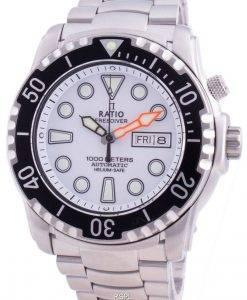 비율 무료 다이버 헬륨 안전 1000M 사파이어 오토매틱 1068HA96-34VA-WHT 남성용 시계