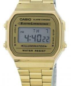 카시오 디지털 알람 크로 노 스테인레스 스틸 A168WG 9WDF A168WG 9W 남녀 시계